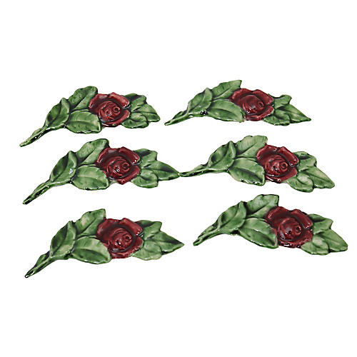 French Majolica Rose Knife Rests, S/6
