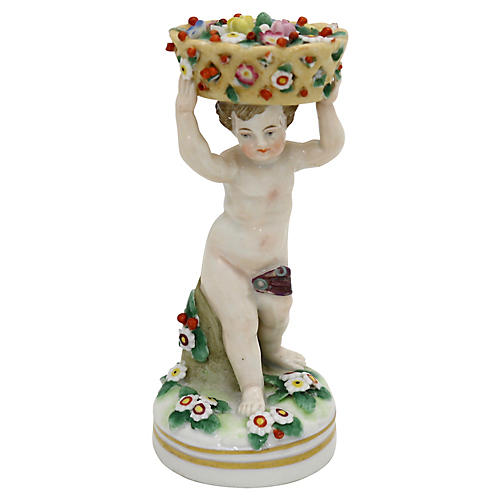 Antique French Porcelain Cherub