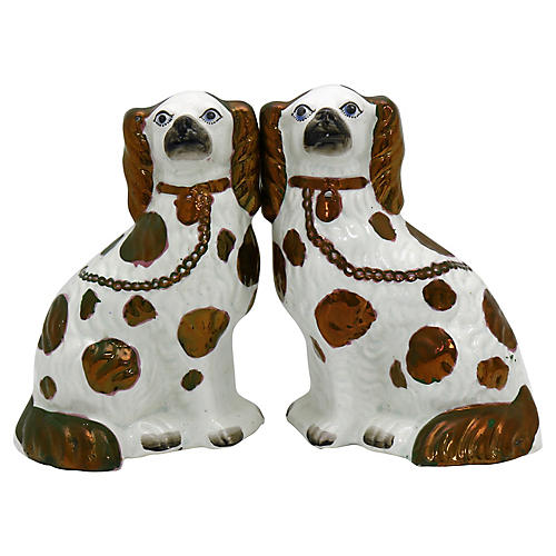Staffordshire Copper Dogs w/ Blue Eyes