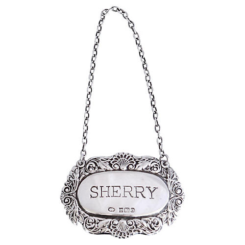 English Sterling Sherry Decanter Label