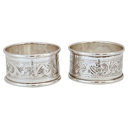 1919 Sterling Blank Napkin Rings, Pair