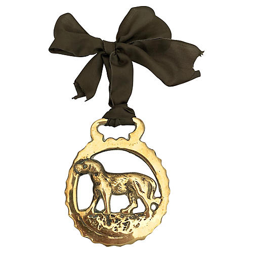 Antique English Horse Brass Dog Ornament