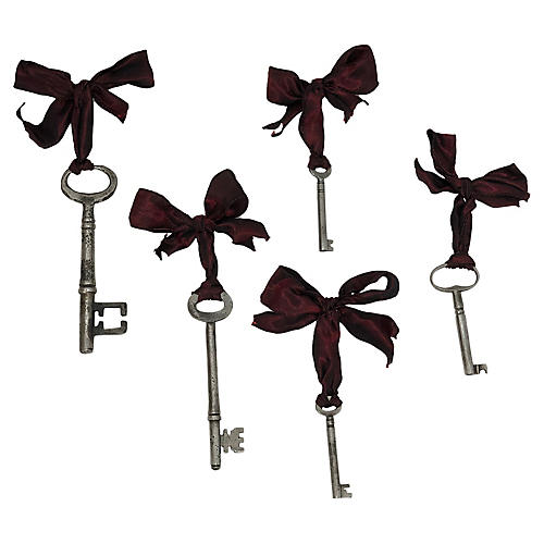 Antique Skeleton Key Ornaments, S/5