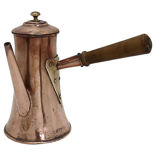 Antique English Copper Chocolate Pot