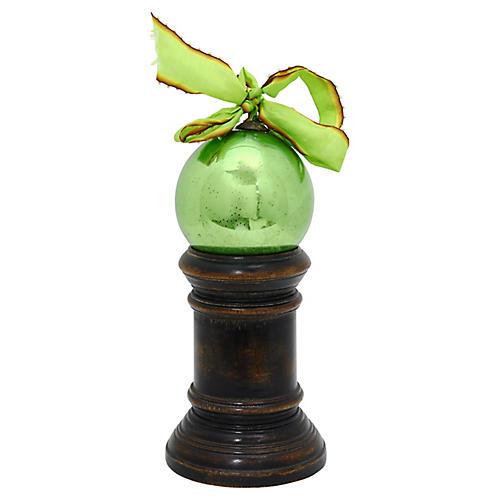 Antique Mercury Glass Orb w/ Stand