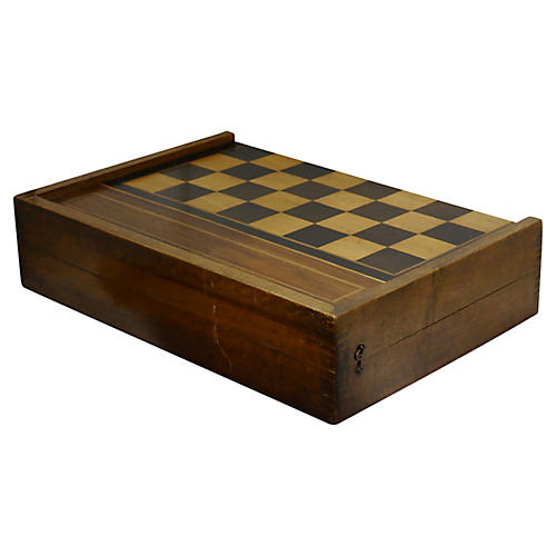 Large Antique Inlaid Gameboard Box