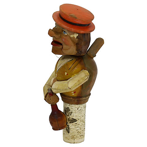 Animated Hand-Carved Wine Stopper