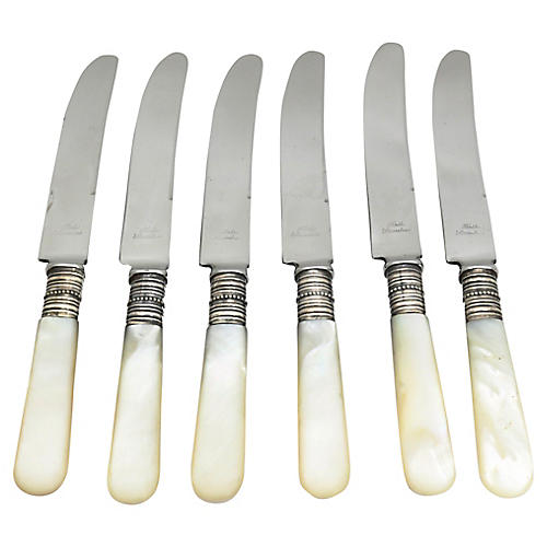 English Pearl-Handled Butter Knives, S/6