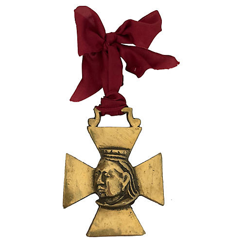 Antique Brass Queen Victoria Ornament