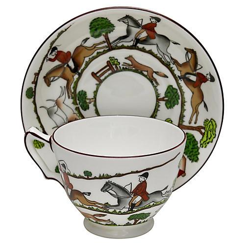 English Hunting Scene Cup & Saucer