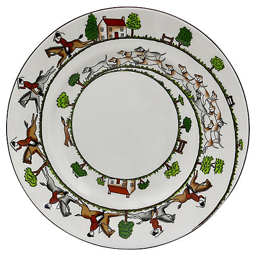 "English Hunting Scene 9"" Luncheon Plate"