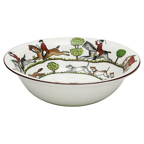 English Hunting Scene Coupe Cereal Bowl