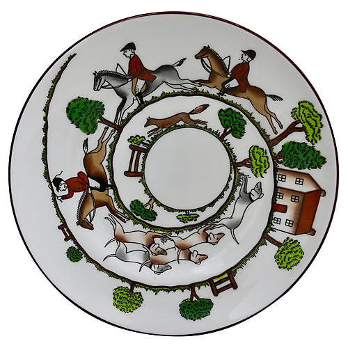 English Hunting Scene Cake / Bread Plate
