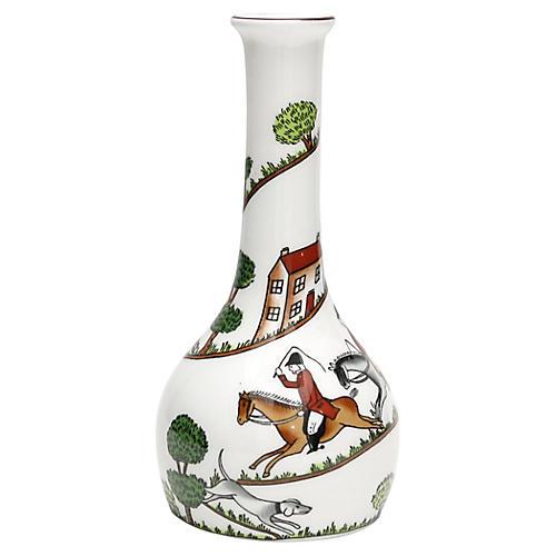 English Hunting Scene Bud Vase