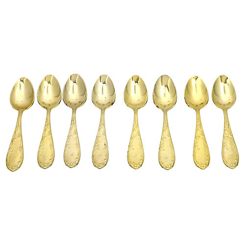 French Gold Plated Teaspoons, S/8