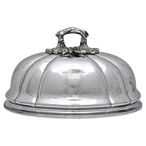 Antique Food Dome Cloche w/ Coat of Arms
