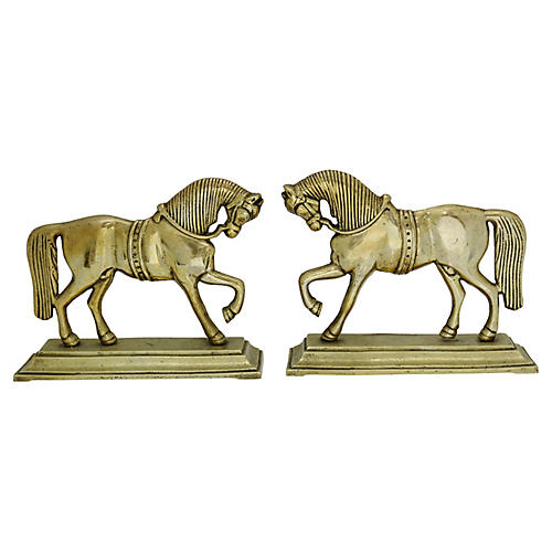 English Horse Doorstops, Pair