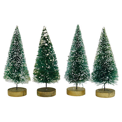 1960s Bottle Brush Christmas Trees, S/4