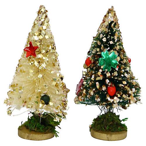 1960s Bottle Brush Christmas Trees, Pair