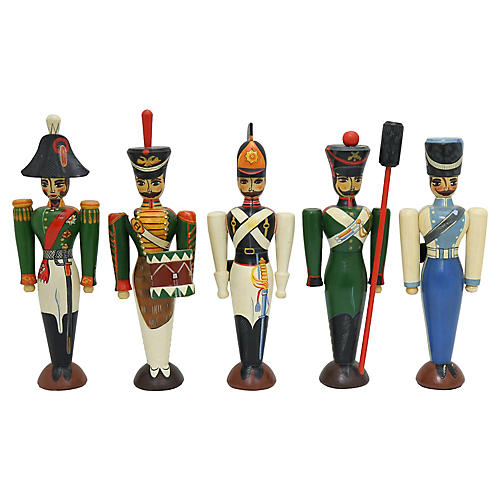 Russian Painted Wooden Soldiers, S/5
