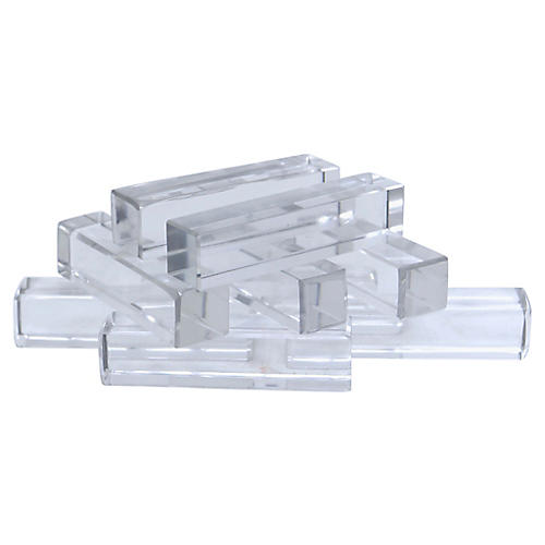 French St Louis Crystal Knife Rests, S/9