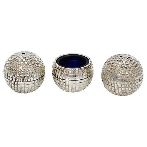 English Silver-Plate Golf Ball Cruet Set