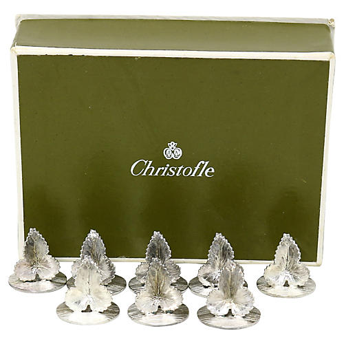 French Christofle Name Card Holders, S/8