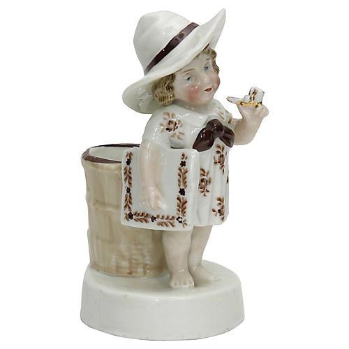 Antique Pipe Smoking Girl Match Striker