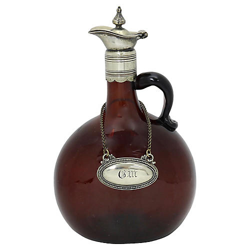 Antique English Gin Decanter w/ Label
