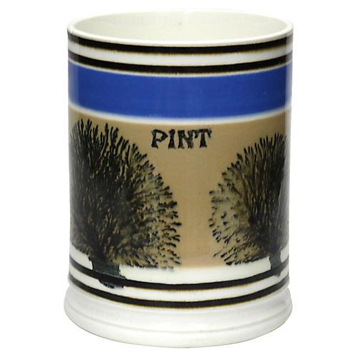 Antique English Mochaware Pint Beer Mug