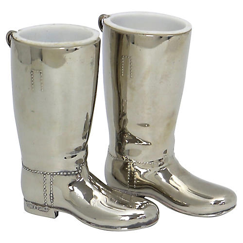 Silver-Plate Riding Boot Jiggers, Pair