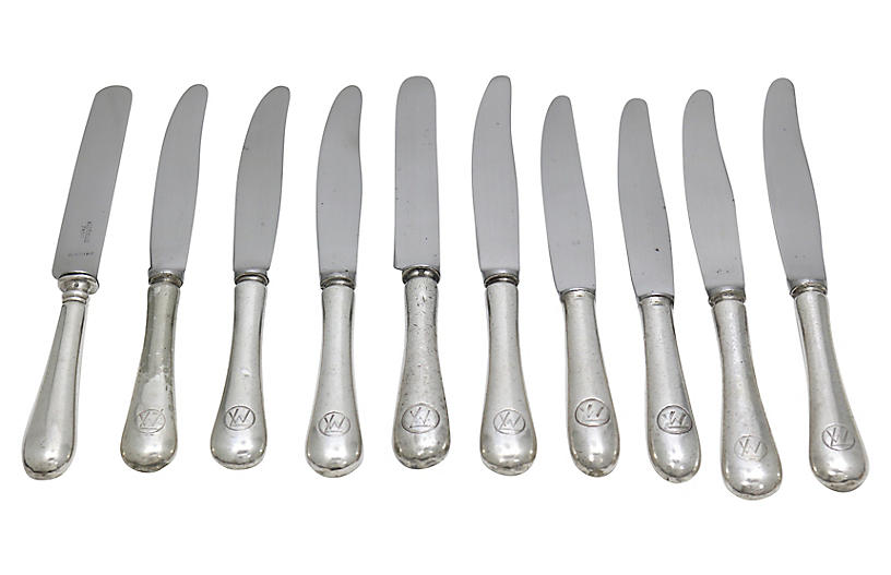 1930s Orient Express Dinner Knives, S/10