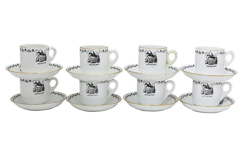 English Hunting Lodge Espresso Cups, S/8