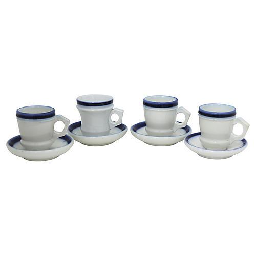 Antique French Tasse Brûlot Cups, S/4