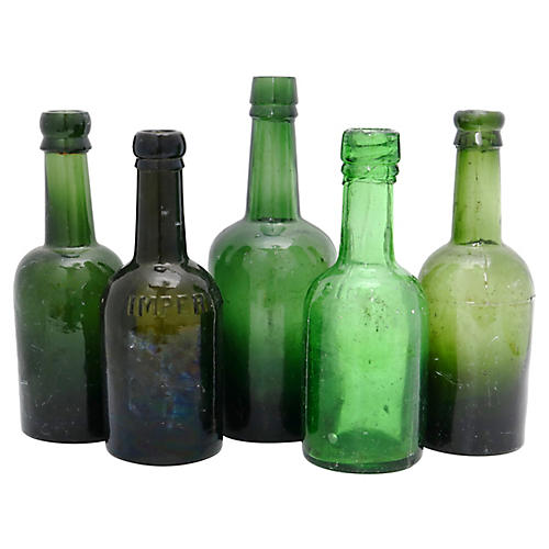 Antique English Beer Bottles, S/5