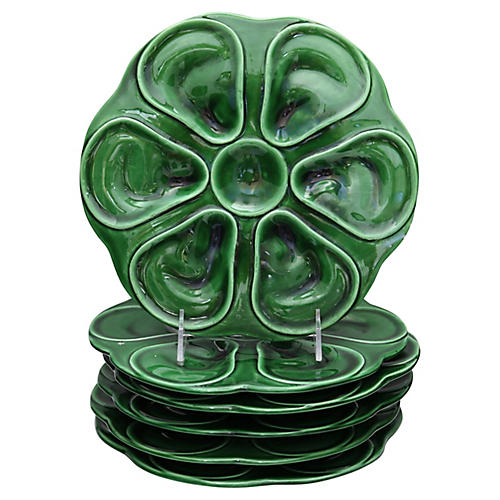 French Majolica Oysters Plates, S/6