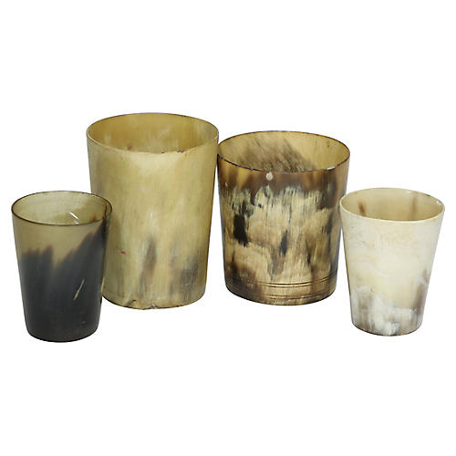 Antique English Horn Bar Cups, S/4