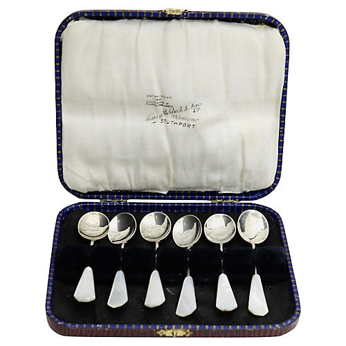 D.1929 Sterling Pearl Handled Spoons,S/6