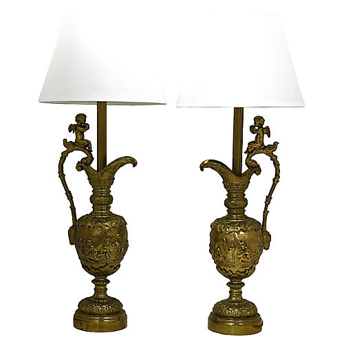French Brass Cherub Lamps, Pair