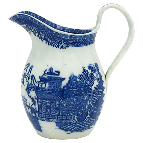 English Willow Pearlware Pitcher, C.1820