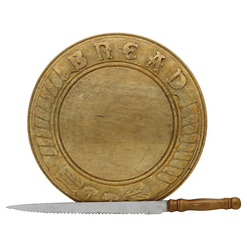 Hand-Carved English Bread Board w/ Knife