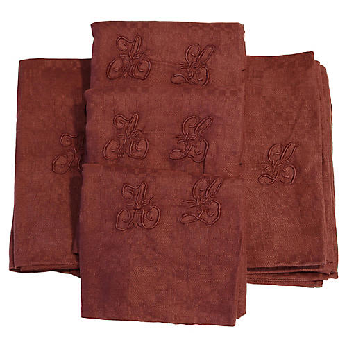 "Antique French ""AL"" Dinner Napkins, S/10"
