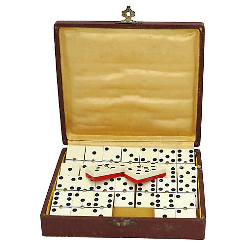 Mid-Century Dominos Set w/Red Laminate