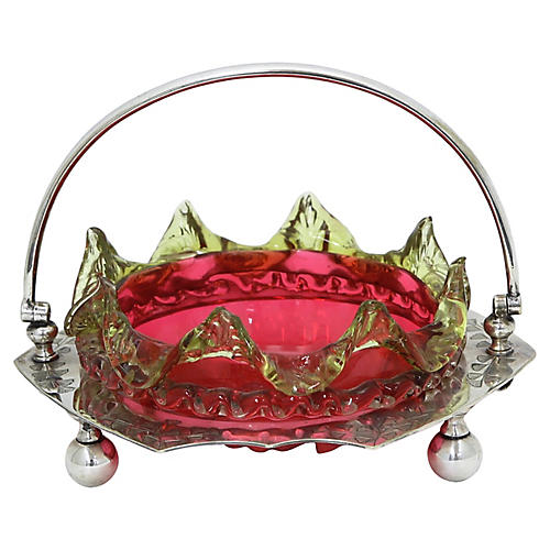 Antique English Cranberry Glass Basket