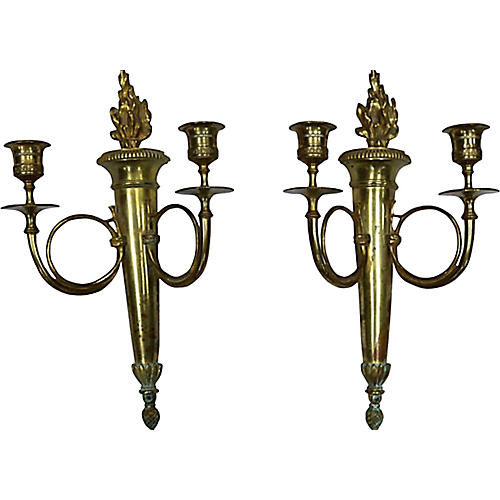 1940s French Brass Sconces, Pair