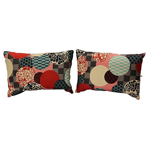 Antique Silk Kimono Lumbar Pillows, Pair