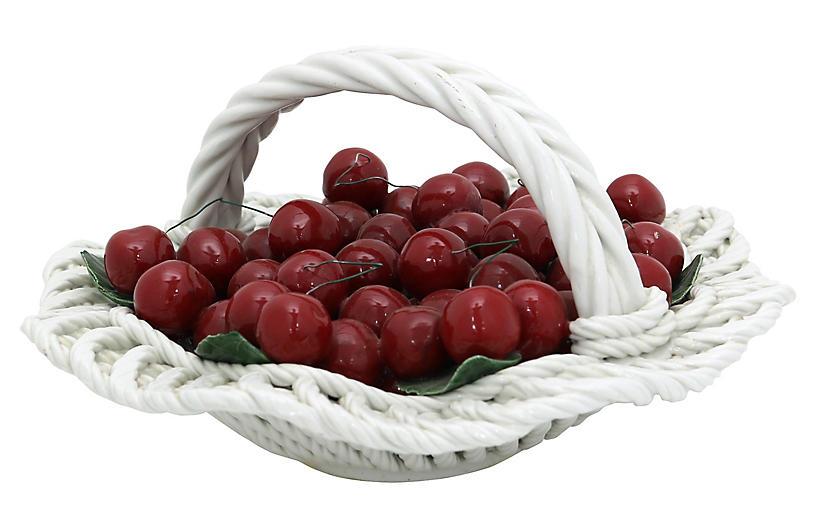 Italian Ceramic Basket of Cherries