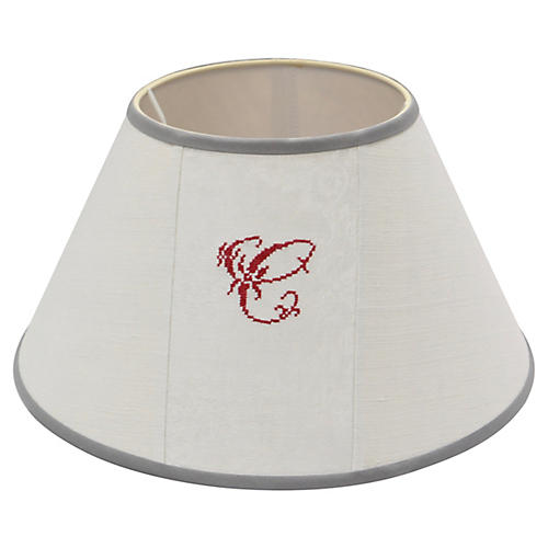 "Antique French Linen ""C"" Lampshade"