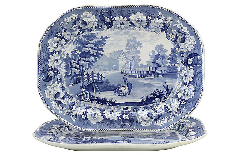 19th-C English Meat Platters w/Cows, 2pc