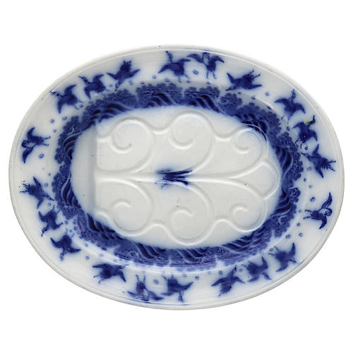 Minton Flow Blue Turkey Platter w/Birds